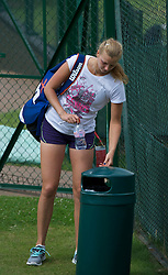 LONDON, ENGLAND - Friday, July 1, 2011: Petra Kvitova (CZE) puts her rubbish in the bin after practice ahead of her first Grand Slam Final match on day eleven of the Wimbledon Lawn Tennis Championships at the All England Lawn Tennis and Croquet Club. (Pic by David Rawcliffe/Propaganda)