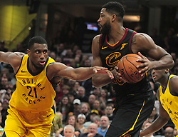 April 29, 2018 - Cleveland, OH, USA - Cleveland Cavaliers center Tristan Thompson keeps the ball from Indiana Pacers forward Thaddeus Young in the first quarter of Game 7 during the Eastern Conference First Round series on Sunday, April 29, 2018 at Quicken Loans Arena in Cleveland, Ohio. The Cavs won the game, 105-101. (Credit Image: © Leah Klafczynski/TNS via ZUMA Wire)