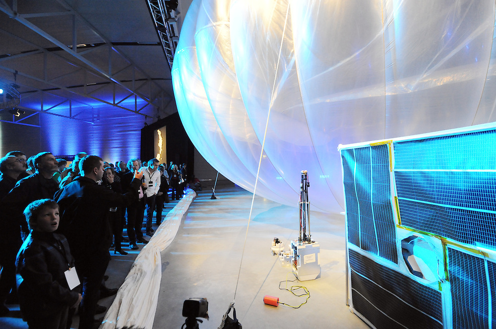 The launch of Google X's Project Loon which will see balloons floating in the sratosphere as a network of internet antenna across the world providing a internet service to every corner of the earth, Wigram Air Museum, Christchurch, New Zealand, Saturday, June 15, 2013. Credit:SNPA / Ross Setford