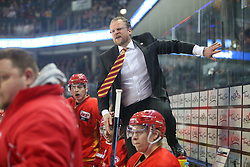 04.01.2015, Arena Nuernberger Versicherung, Nuernberg, GER, DEL, Thomas Sabo Ice Tigers Nuernberg vs Duesseldorfer EG, 35. Runde, im Bild Wuetender Trainer Christof Kreutzer - Duesseldorfer EG // during Germans DEL Icehockey League 35th round match between Thomas Sabo Ice Tigers Nuernberg and Duesseldorfer EG at the Arena Nuernberger Versicherung in Nuernberg, Germany on 2015/01/04. EXPA Pictures © 2015, PhotoCredit: EXPA/ Eibner-Pressefoto/ Arth<br /> <br /> *****ATTENTION - OUT of GER*****