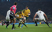 Australia's back row Scott Fardy charging through the England defence during the Rugby World Cup Pool A match between England and Australia at Twickenham, Richmond, United Kingdom on 3 October 2015. Photo by Matthew Redman.
