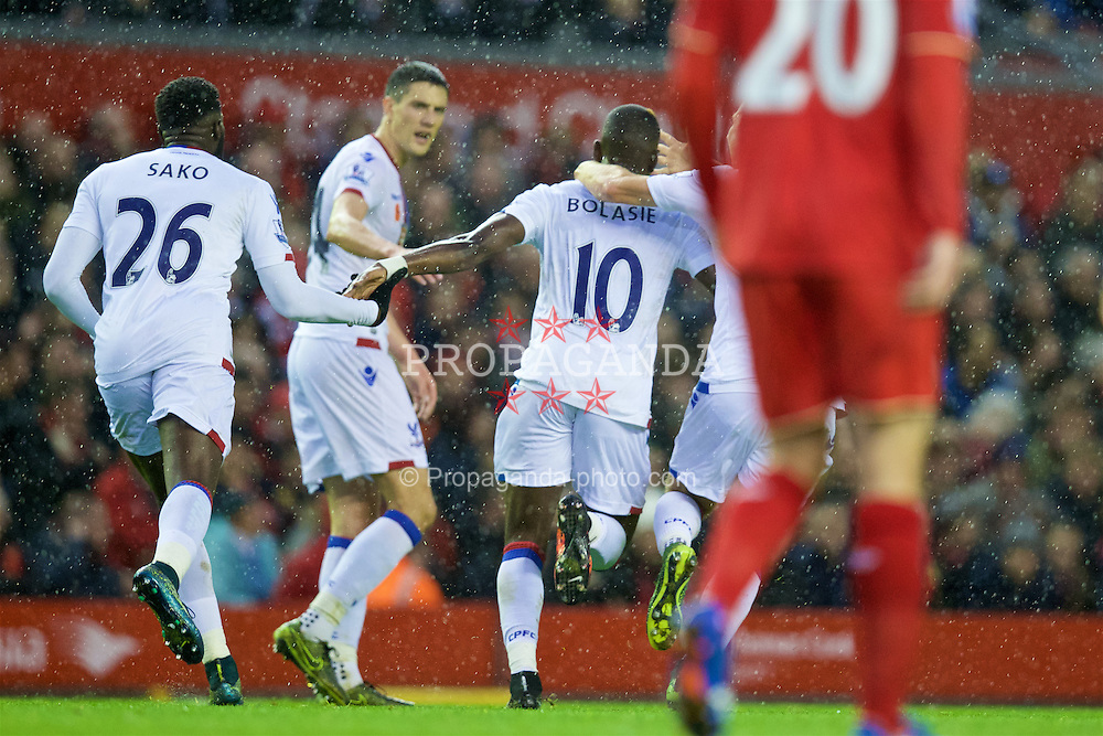 LIVERPOOL, ENGLAND - Sunday, November 8, 2015: Crystal Palace's Yannick Bolasie celebrates scoring the first goal against Liverpool during the Premier League match at Anfield. (Pic by David Rawcliffe/Propaganda)