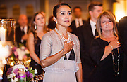 Guests rise for the National Anthem before the program started at Mercy Hospital & Medical Center's 51st Dinner Dance Gala at the Hilton Chicago on September 28, 2018. Dr. Robert M. Gasior and Honorable Patrick Huels were honored at the event, emceed by Kristen Nicole, anchor at Fox 32 Chicago. Proceeds will benefit Cardiovascular Services including screening, intervention, rehabilitation, wellness and prevention programs for patients and families. (Photo:Natalie Battaglia)