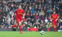 LONDON, ENGLAND - Sunday, May 12, 2013: Liverpool's Lucas Leiva in action against Fulham during the Premiership match at Craven Cottage. (Pic by David Rawcliffe/Propaganda)