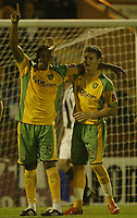 Photo: Aidan Ellis.<br /> Rochdale v Norwich City. Carling Cup. 28/08/2007.<br /> Dion Dublin celebrates his goal wirh Chris Martin