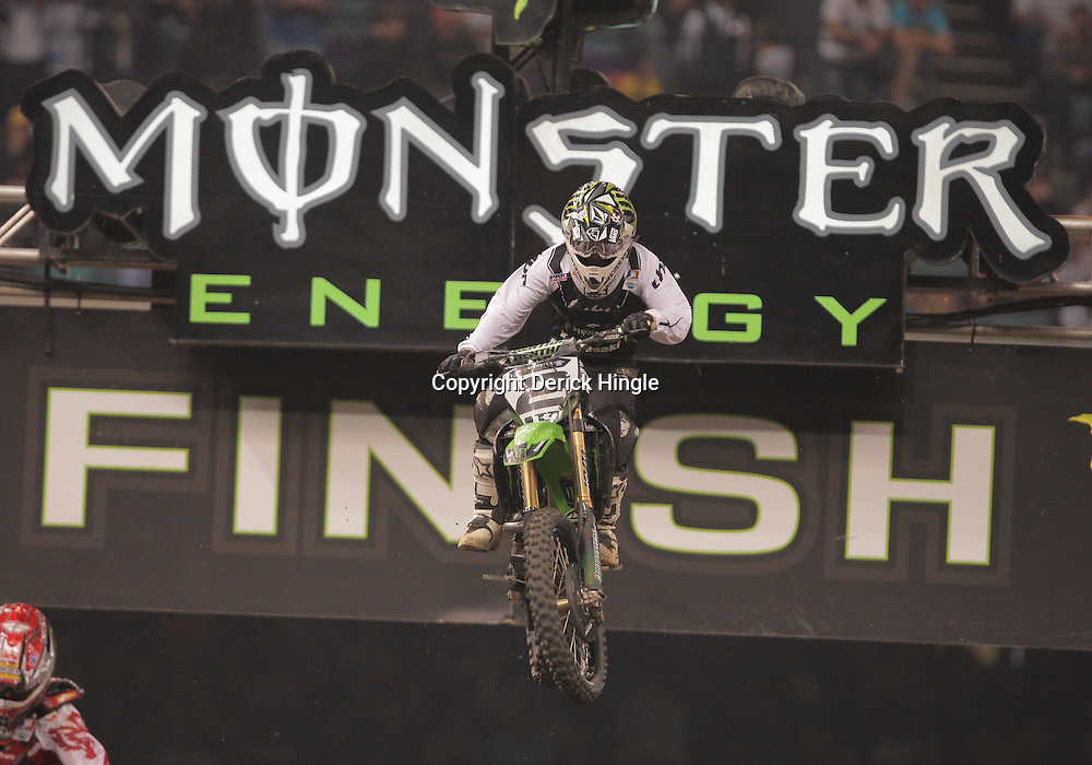 14 March 2009: Ryan Villopoto (2) races during the Monster Energy AMA Supercross race at the Louisiana Superdome in New Orleans, Louisiana