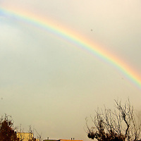 A rainbow shines above Santa Monica on Monday, Januart 23, 2012.