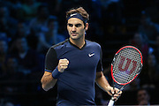 Roger Federer celebrates his victory during the Barclays ATP World Tour Finals at the O2 Arena, London, United Kingdom on 15 November 2015. Photo by Phil Duncan.