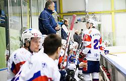 Matjaz Kopitar, head coach of Slovenia and PETER BIZALJ of Slovenia during Friendly Ice-hockey match between National teams of Slovenia and Italy on April 5, 2013 in Ice Arena Tabor, Maribor, Slovenia. (Photo By Vid Ponikvar / Sportida)