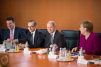 DEU, Deutschland, Germany, Berlin, 21.03.2018: Bundesaussenminister Heiko Maas (SPD), Bundesfinanzminister Olaf Scholz (SPD), Bundeskanzlerin Dr. Angela Merkel (CDU), vor Beginn der 2. Kabinettsitzung im Bundeskanzleramt.