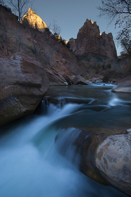 Court of the Patriarchs and Virgin River, Zion National Park, Utah