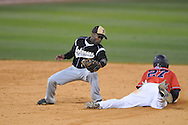 Mississippi's Taylor Hashman steals second vs. Arkansas-Pine Bluff's Sean Prater at Oxford-University Stadium in Oxford, Miss. on Tuesday, March 16, 2010. Hashman scored a school record six runs, going 3-for-4 at the plate with six RBI as he helped lead No. 19 Ole Miss (13-4) to a 17-1 win.