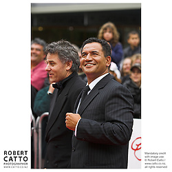 Director Vincent Ward and actor Temuera Morrison at the premiere of the film River Queen in Wanganui, New Zealand.