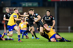 Ollie Devoto of Exeter Braves is challenged by Bath United - Mandatory by-line: Ryan Hiscott/JMP - 16/12/2019 - RUGBY - Sandy Park - Exeter, England - Exeter Braves v Bath United - Premiership Rugby Shield
