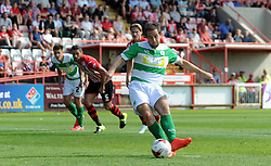 Yeovil Town's Matthew Dolan scores his sides goal - Photo mandatory by-line: Harry Trump/JMP - Mobile: 07966 386802 - 08/08/15 - SPORT - FOOTBALL - Sky Bet League Two - Exeter City v Yeovil Town - St James Park, Exeter, England.