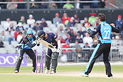 Worcestershire's Ben Cox (Capt) tries to stump Lancashires Josh Bohannon  during the Royal London 1 Day Cup match between Lancashire County Cricket Club and Worcestershire County Cricket Club at the Emirates, Old Trafford, Manchester, United Kingdom on 17 April 2019.