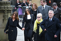 © Licensed to London News Pictures . 18/03/2016 . Manchester , UK . Guests including Alison King (far left) and Kym Marsh (second left) arrive at the service. Television stars and members of the public attend the funeral of Coronation Street creator Tony Warren at Manchester Cathedral . Photo credit : Joel Goodman/LNP