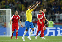 (l-r) Antonio Rukavina of Serbia, Thiago Silva of Brazil, Adem Ljajic of Serbia during the 2018 FIFA World Cup Russia group E match between Serbia and Brazil at the Otkrytiye Arena on June 27, 2018 in Moscow, Russia