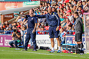 Uwe Rosler & Russell Wilcox during the Friendly match between York City and Leeds United at Bootham Crescent, York, England on 15 July 2015. Photo by Simon Davies.