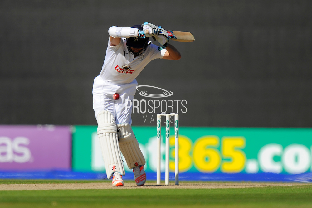 Hampshire's Ryan McLaren gets hit by the ball where it hurts during the Specsavers County Champ Div 1 match between Hampshire County Cricket Club and Surrey County Cricket Club at the Ageas Bowl, Southampton, United Kingdom on 18 July 2016. Photo by Graham Hunt.