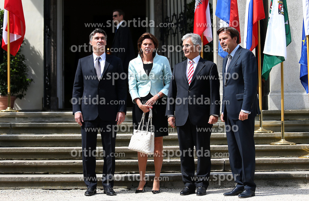 23.08.2013, Graz, AUT, &Ouml;sterreichischer Ministerpr&auml;sident Werner Faymann trifft Zoran Milanovic aus Kroatien und Alenka Bratusek aus Slowenien zu einem offizelen Arbeitsgespraech, im Bild Zoran Milanovic,Franz Voves, Alenka Bratusek and Werner Faymann, // Prime Ministers, Werner Faymann of Austria, Zoran Milanovic of Croatia and Alenka Bratusek of Slovenia met in Graz on Friday for talks on strengthening relations between their countries and on joint cooperation within the European Union. Graz, Austria on 2013/08/23. EXPA Pictures &copy; 2013, PhotoCredit: EXPA/ Pixsell/ Michal Glebov<br /> <br /> ***** ATTENTION - for AUT, SLO, SUI, ITA, FRA only *****