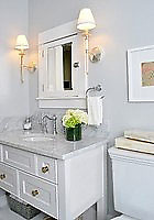 MONTE VISTA BATH WITH CARRERA MARBLE TOP AND CUSTOM CABINET