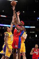 15 January 2010: Forward Al Thornton of the Los Angeles Clippers shoots the ball over Shannon Brown of the Los Angeles Lakers during the first half of the Lakers 126-86 victory over the Clippers at the STAPLES Center in Los Angeles, CA.