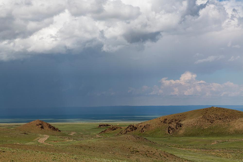 Dirt roads crisscross the landscape of the Gobi Desert in Mongolia near Yol Valley National Park on July 30, 2012. © 2012 Tom Turner Photography.