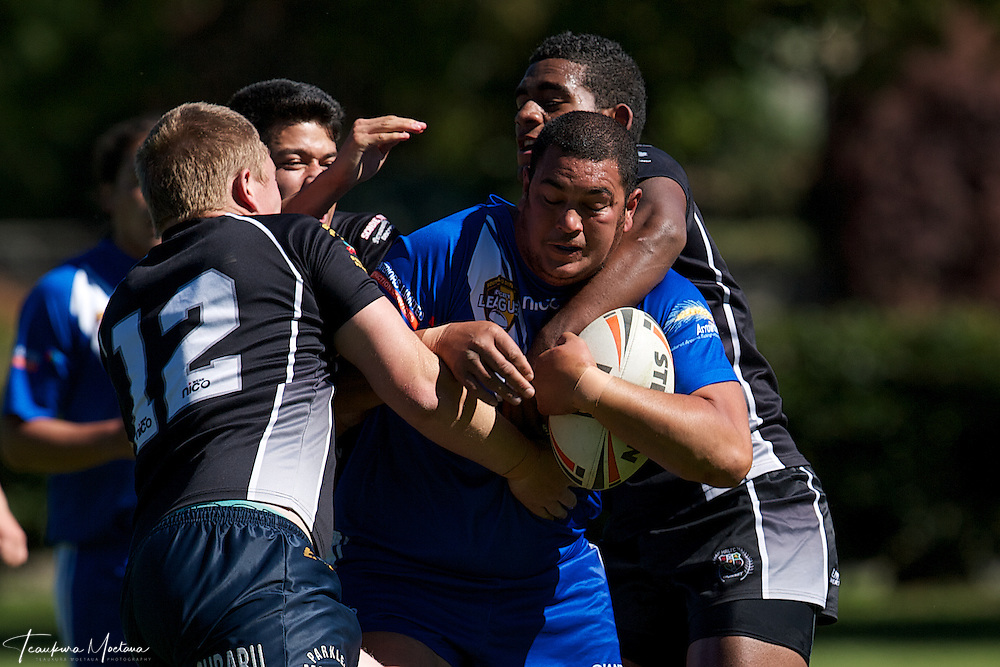 William Rogers-Hoff is tackled during the preaseason Rugby league game between the Wakatipu Giants and Hornby U18s at the Jack Reid Park, Arrowtown, New Zealand. Saturday, March 17, 2012. Credit:Teaukura Moetaua / Media Sport
