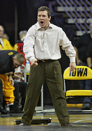 January 22 2010: Iowa assistant coach Terry Brands yells during an NCAA wrestling dual at Carver-Hawkeye Arena in Iowa City, Iowa on January 22, 2010. Grambrall defeated Magrum 10-3 and Iowa defeated Ohio State 33-3.