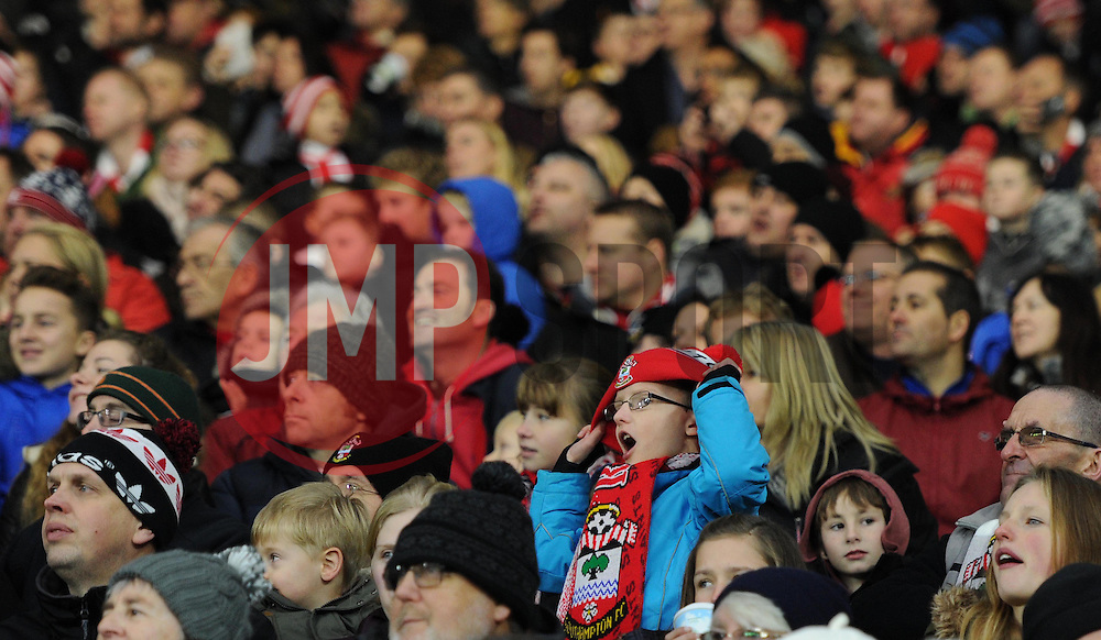 Saints supporters at St Mary's Stadium - Photo mandatory by-line: Paul Knight/JMP - Mobile: 07966 386802 - 04/01/2015 - SPORT - Football - Southampton - St Mary's Stadium - Southampton v Ipswich Town - FA Cup Third Round