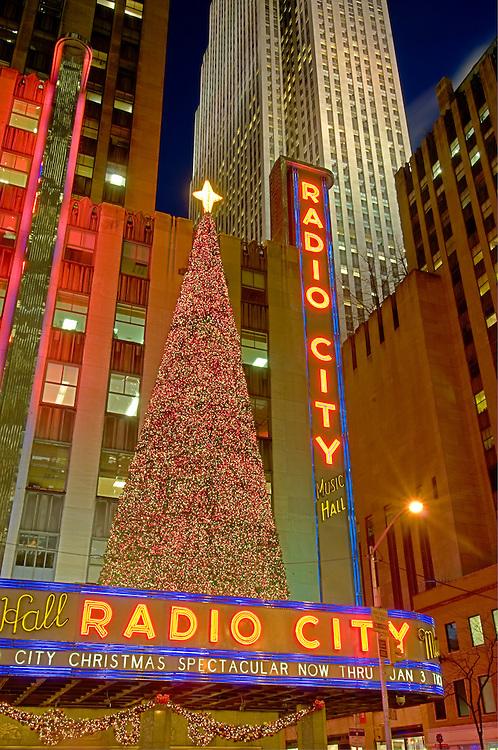 New York, New York , Rockefeller Center, Christmas, Sixth Avenue, Radio City Music Hall, exterior.architect Edward Durell Stone