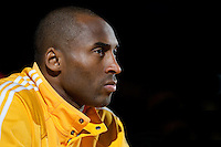 15 January 2010: Guard Kobe Bryant of the Los Angeles Lakers sits on the bench during player introductions before the Lakers 126-86 victory over the Los Angeles Clippers at the STAPLES Center in Los Angeles, CA.