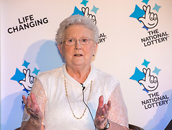 © Licensed to London News Pictures. 20/02/2018. Tortworth Court, Wotton-under-Edge, Gloucestershire, UK. Family of six win £18.1m on Lotto. The BANFIELD family, mum Shirley age 83. A family syndicate from Bristol are celebrating after their Lucky Dip ticket matched all six numbers to scoop the £18,139,352 Lotto Jackpot last Saturday. The win, which mum and dad had always told their two daughters was just a matter of time, will mean travel to international sporting fixtures, new cars and a stress-free future for them all. Photo credit: Simon Chapman/LNP