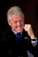 """SAN FRANCISCO, CA - FEBRUARY 4:  Former U.S. President Bill Clinton attends a """"Voices Across America""""  town hall meeting on February 4, 2008 in San Francisco, California.  He was taking part with his wife and Democratic presidential hopeful U.S. Senator Hillary Clinton (D-NY), who was in New York,  in the live broadcast  and online town hall meeting. The first of it's kind town hall meeting incorporates  21 Super Tuesday states simultaneously to participate in the question and answer conversation.  (Photo by David Paul Morris)."""
