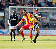 12th May 2018, Dens Park, Dundee, Scotland; Scottish Premier League football, Dundee versus Partick Thistle; Lewis Spence of Dundee battles for the ball with Adam Barton of Partick Thistle