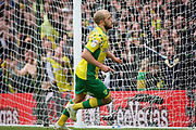 Norwich City forward Teemu Pukki (22) wheels away after scoring his second goal during the EFL Sky Bet Championship match between Norwich City and Queens Park Rangers at Carrow Road, Norwich, England on 6 April 2019.