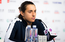 September 30, 2018 - Caroline Garcia of France talks to the media after winning her first-round match at the 2018 China Open WTA Premier Mandatory tennis tournament (Credit Image: © AFP7 via ZUMA Wire)