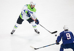 Ales Kranjc of Slovenia vs Damien Fleury of France during the 2017 IIHF Men's World Championship group B Ice hockey match between National Teams of France and Slovenia, on May 15, 2017 in AccorHotels Arena in Paris, France. Photo by Vid Ponikvar / Sportida