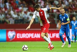 June 10, 2019 - Warsaw, Poland - Poland's forward Robert Lewandowski and  Bibras Natcho of Israel in action during the UEFA Euro 2020 qualifier Group G football match Poland against Israel on June 10, 2019 in Warsaw, Poland. (Credit Image: © Foto Olimpik/NurPhoto via ZUMA Press)