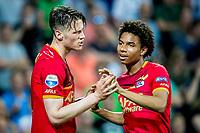 GRONINGEN, 17-05-2017, FC Groningen - AZ,  Noordlease Stadion, AZ speler Wout Weghorst heeft de 0-2 gescoord, AZ speler Calvin Stengs (r).