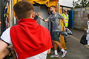 Leeds United midfielder Mateusz Klich (43) arrives at the ground during the Pre-Season Friendly match between Guiseley  and Leeds United at Nethermoor Park, Guiseley, United Kingdom on 11 July 2019.