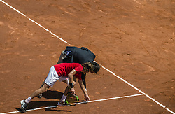April 27, 2018 - Barcelona, Catalonia, Spain - STEFANOS TSITSIPAS (GRE) discusses with the referee palaing against Dominic Thiem (AUT) in their quarter final of the 'Barcelona Open Banc Sabadell' 2018. Tsitsipas won 6:3, 6:2 (Credit Image: © Matthias Oesterle via ZUMA Wire)