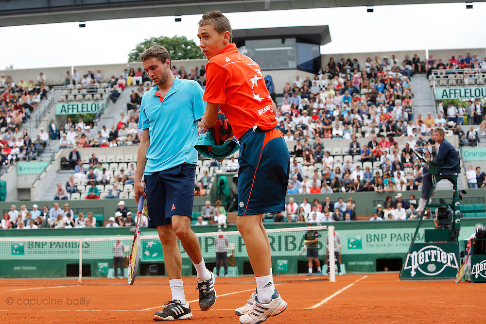Roland Garros. Paris, France. June 1st 2012.A day with the ball boys..With french player Gilles Simon