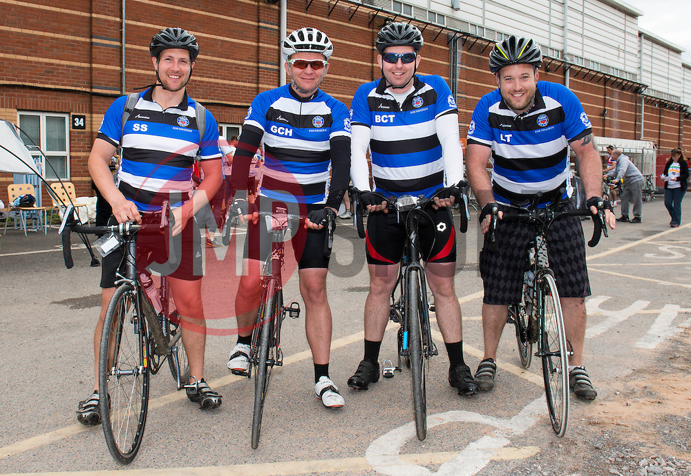 Participants (170, 171, 172, 173) at Ashton Gate take part in Break the Cycle, a 110 mile charity bike ride organised by the Bristol, Bath and Gloucester Rugby Community Foundations, visiting their respective stadia, Ashton Gate, The Recreation Ground and Kingsholm Stadium  - Photo mandatory by-line: Dougie Allward/JMP - Mobile: 07966 386802 - 14/06/2015 - SPORT - Cycling - Bristol - Ashton Gate - Bristol Rugby Community Foundation - Break the Cycle