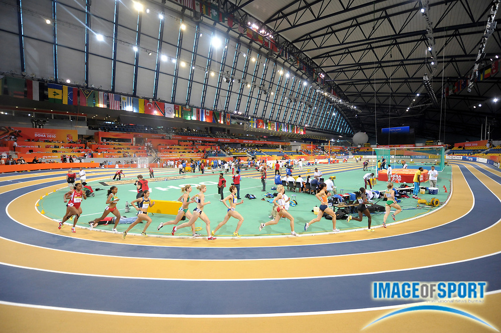 Mar 12, 2010; Doha, QATAR; General view of a women's 3,000m heat in the IAAF World Indoor Championships in Athletics at the Aspire Dome.