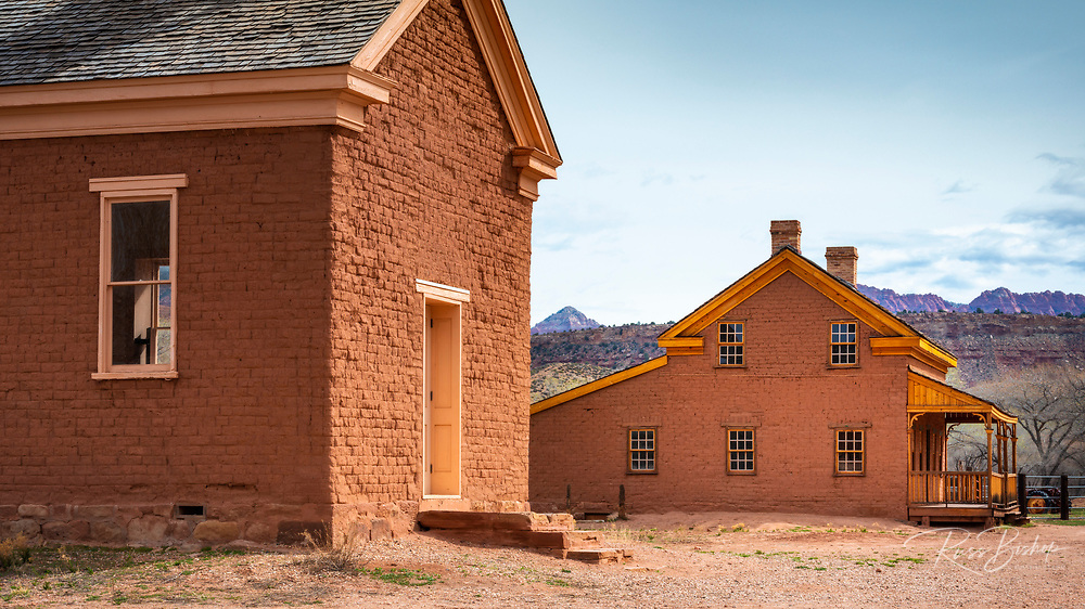 """Alonzo Russell adobe house (featured in the film """"Butch Cassidy and the Sundance Kid"""") and schoolhouse, Grafton ghost town, Utah USA"""
