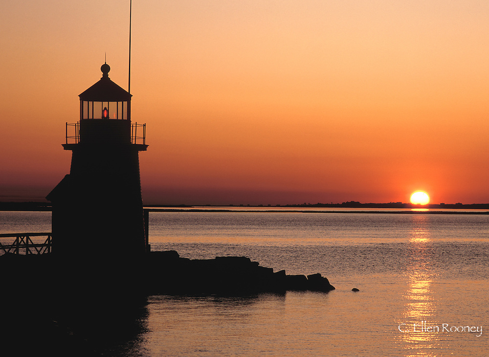 The Brandt Point Lighthouse at sunrise on Nantucket Island, Massachussetts, New England U.S.A.