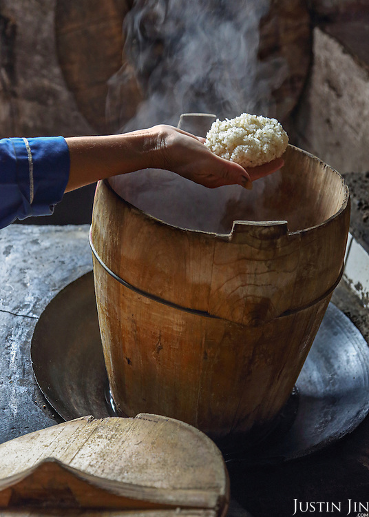 Glutenous rice is used to make rice spirit.
