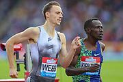 Jamie WEBB of Great Britain & NI and Alfred KIPKETER of Kenya in the Men's 800m during the Muller Grand Prix at Alexander Stadium, Birmingham, United Kingdom on 18 August 2019.